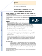 Quantitative Assessment of Citric Acid in Lemon Juice, Lime Juice, And Commercially-Available Fruit Juice Products