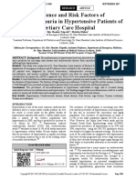 Prevalence and Risk Factors of Microalbuminuria in Hypertensive Patients of Tertiary Care Hospital