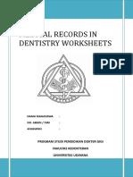 Medical Records in Dentistry Worksheets