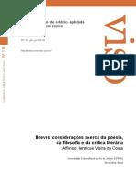 COSTA, Affonso Henrique Vieira Da. Breves Considerações Acerca Da Poesia, Da Filosofia e Da Crítica Literária.