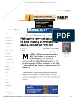 Philippine Lawmakers Seek to Ban Mining in Watershed Areas, Export of Raw Ore