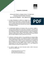 Convocatoria - Construccion Del Tramo Carretero San Jose de Chiquitos - San Ignacio de Velasco