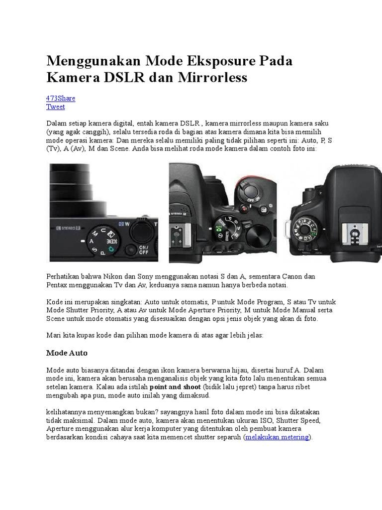 Menggunakan Mode Eksposure Pada Kamera DSLR dan