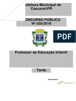 Consulplan 2016 Prefeitura de Cascavel Pr Professor de Educacao Infantil Prova