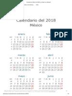 Calendario de México Del 2018 _ ¿Cuándo en El Mundo