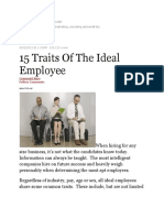 15 Traits of the Ideal Employee