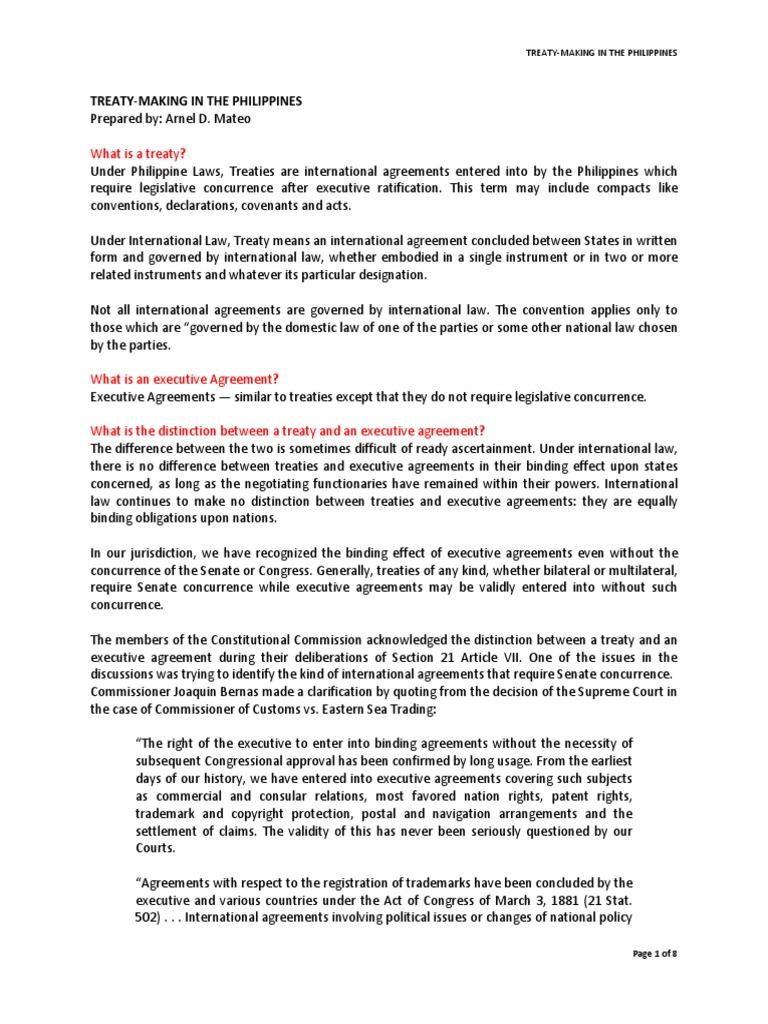 Treaty Making In The Philippines Treaty Ratification