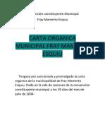 Carta Organica Municipalidad