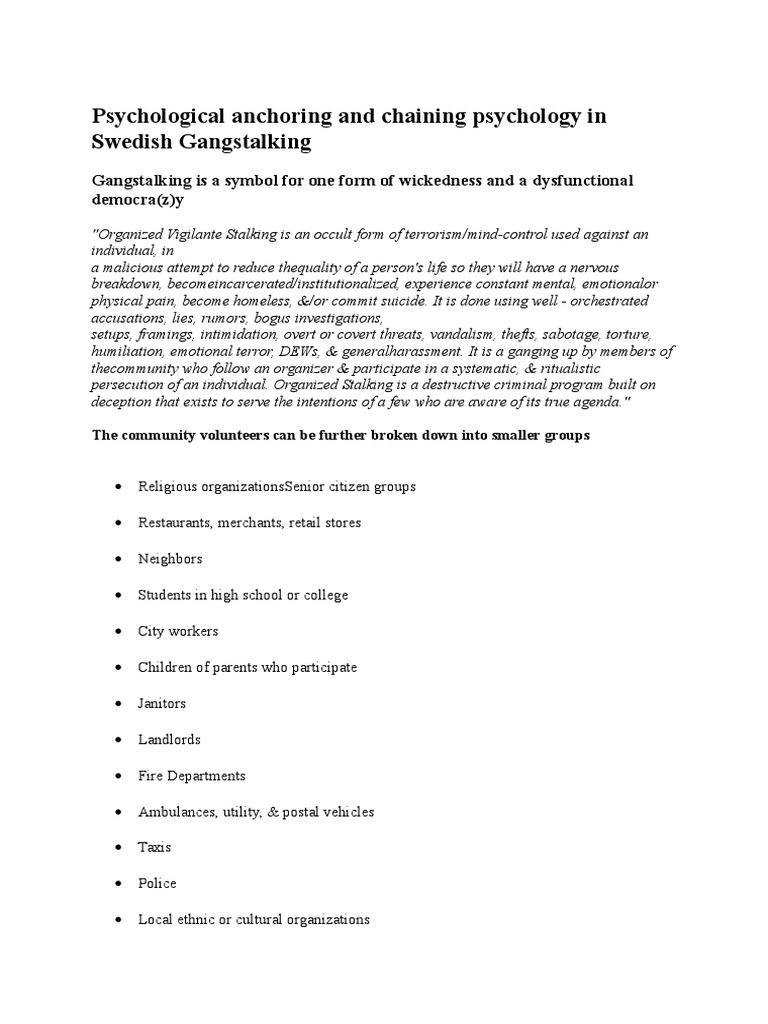 Psychological Anchoring and Chaining Psychology in Swedish