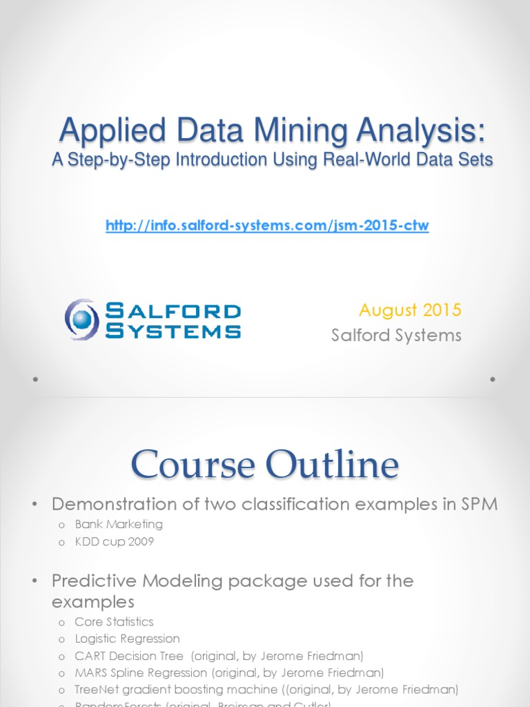 Applied Data Mining   Regression Analysis   Statistical Classification