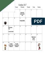 Oct Calendar 2017