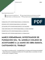 """Marco Kremerman, Investigador de Fundación Sol_ """"El Modelo Chileno Se Acostumbró a La Mano de Obra Barata, Castigando El Trabajo"""" - Fundacion Sol"""