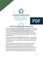 Presupuesto 2018 Instituto Independencia