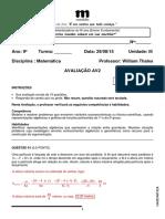 Gabarito Comentado Av2 Unidade 2 Matemática 9o Ano Ef William