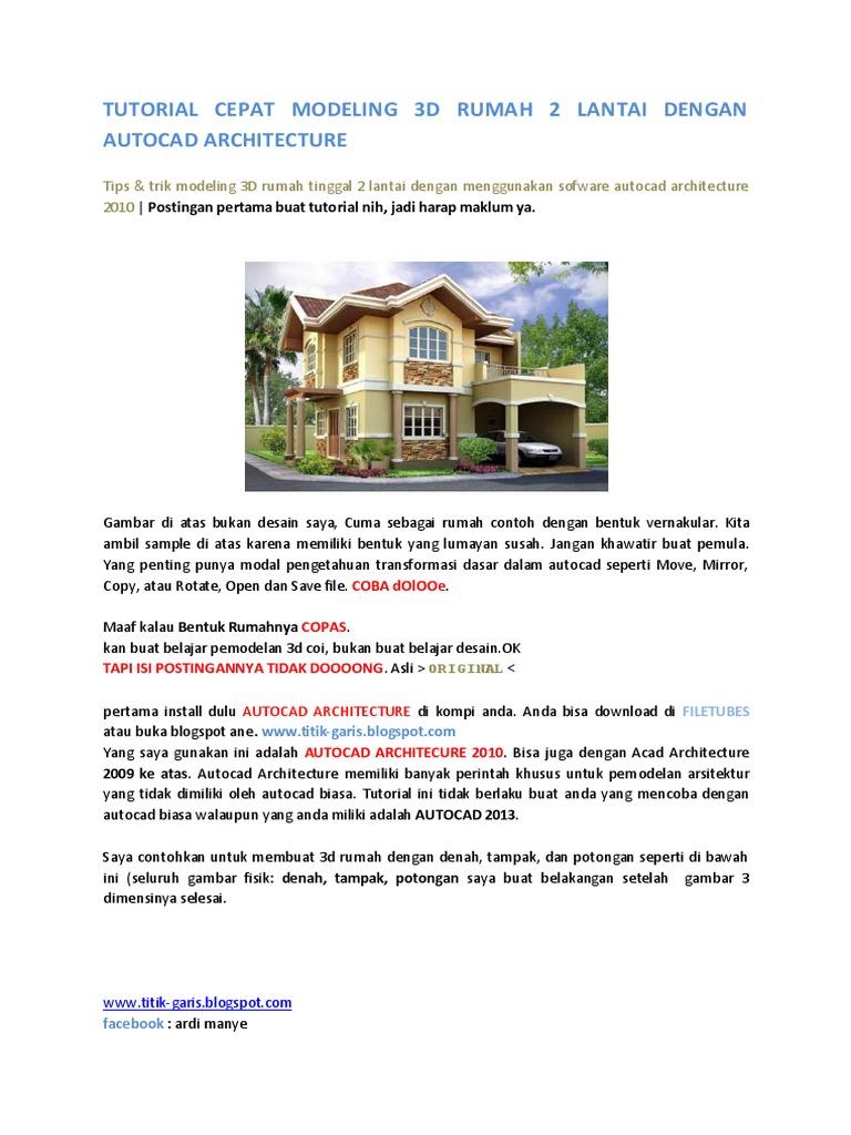 7200 Gambar Rumah 2 Lantai Autocad Terbaru