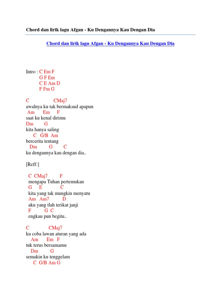 Chord Dan Lirik Lagu Afgan Ku Dengannya Kau Dengan Dia