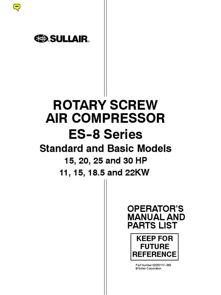sullair es8 manual gas compressor valve rh scribd com Sullair Compressor Parts Sullair Parts