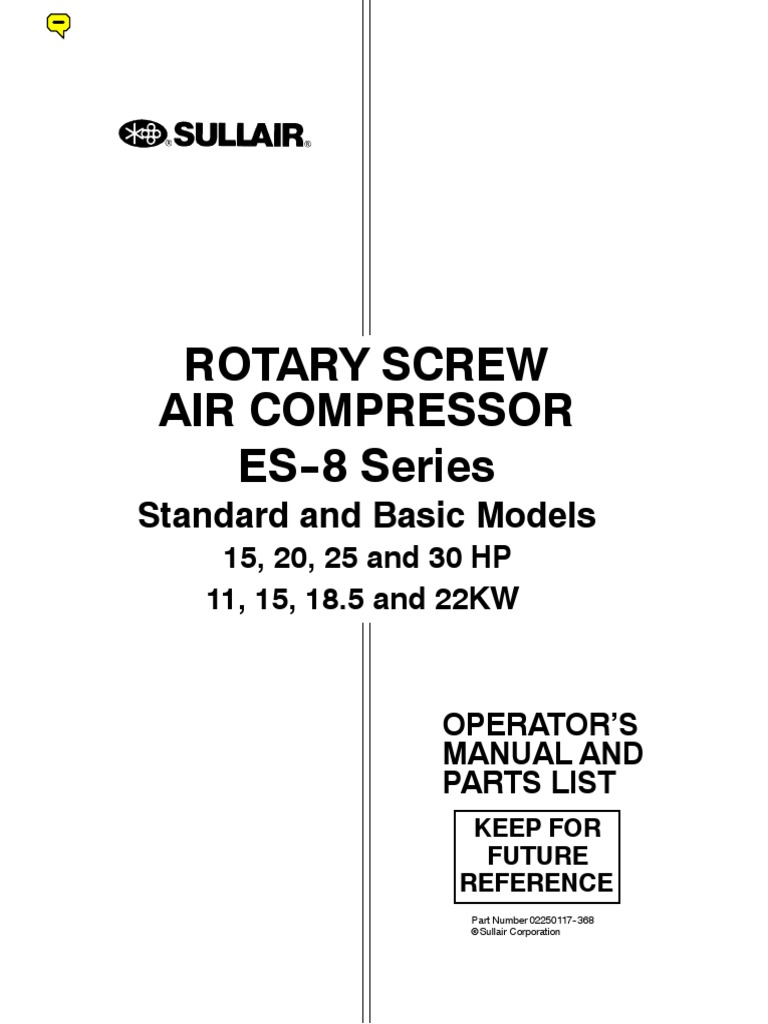 manual for sullair air compressor es 8