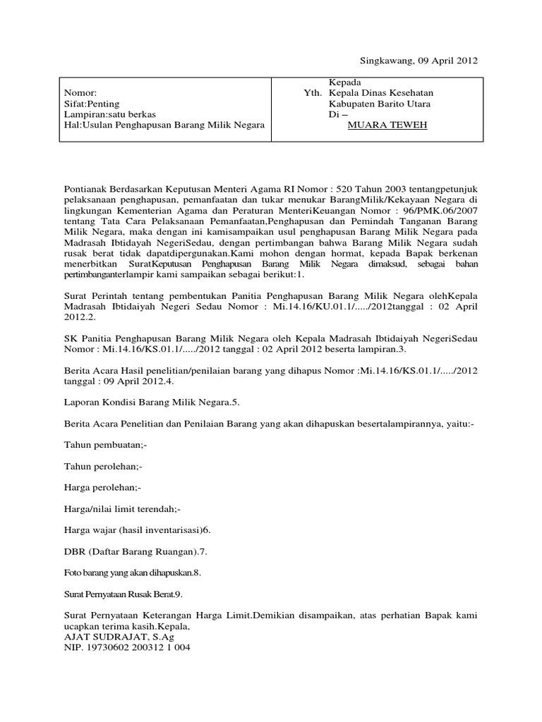Contoh Surat Permohonan Penghapusan Barang