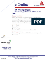 Course Outline - Configuring and Administering Microsoft SharePoint 2010