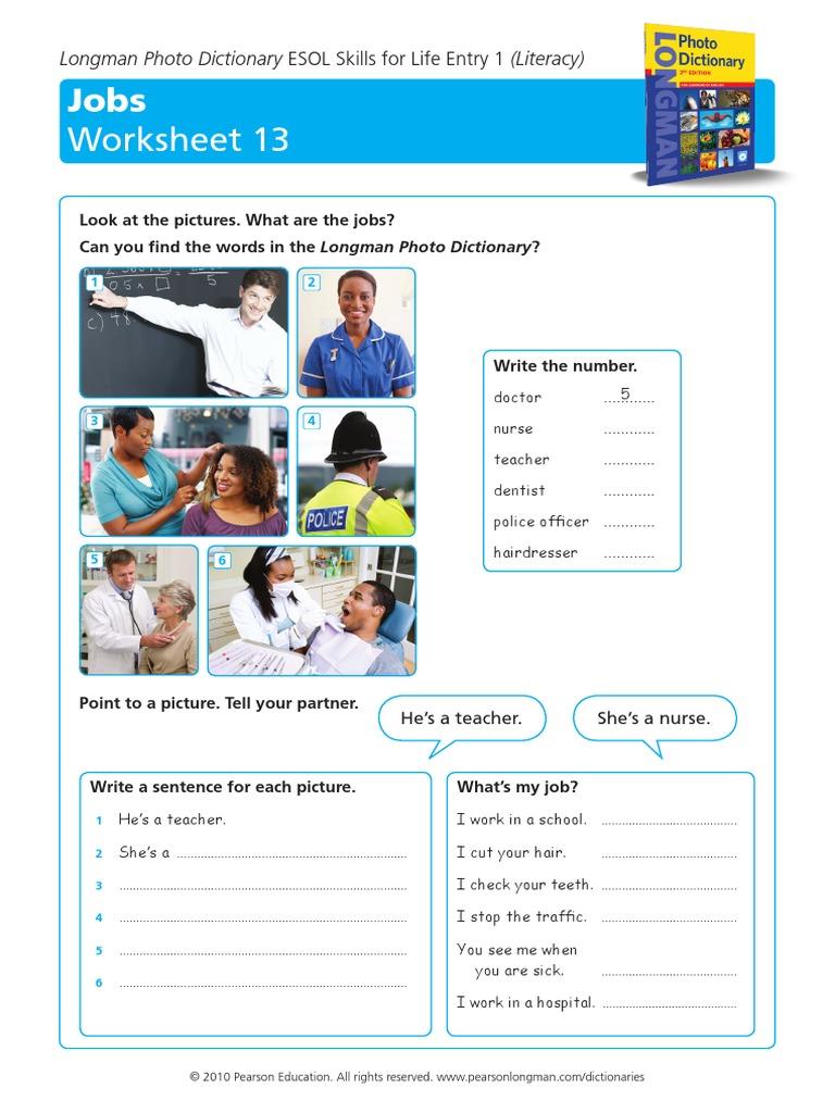jobs-worksheet pdf