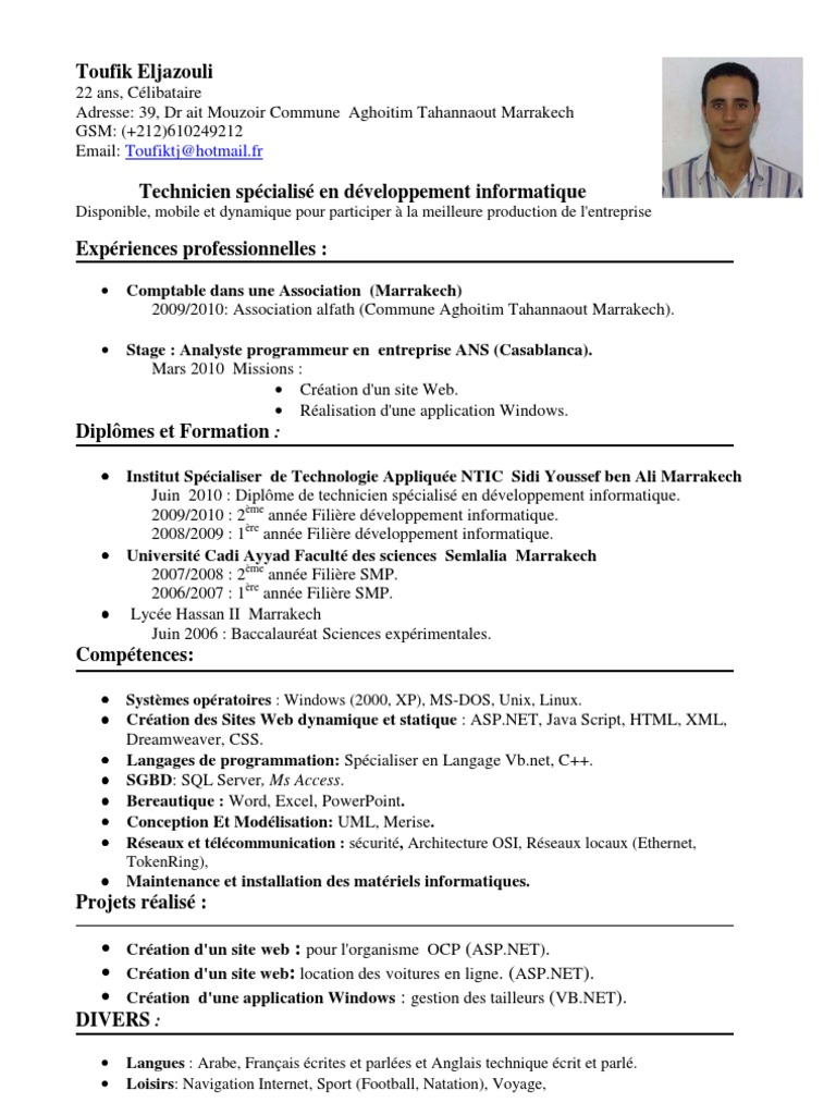 cv technicien en developpement informatique