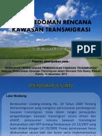 Pedoman Rencana Kawasan Transmigrasi