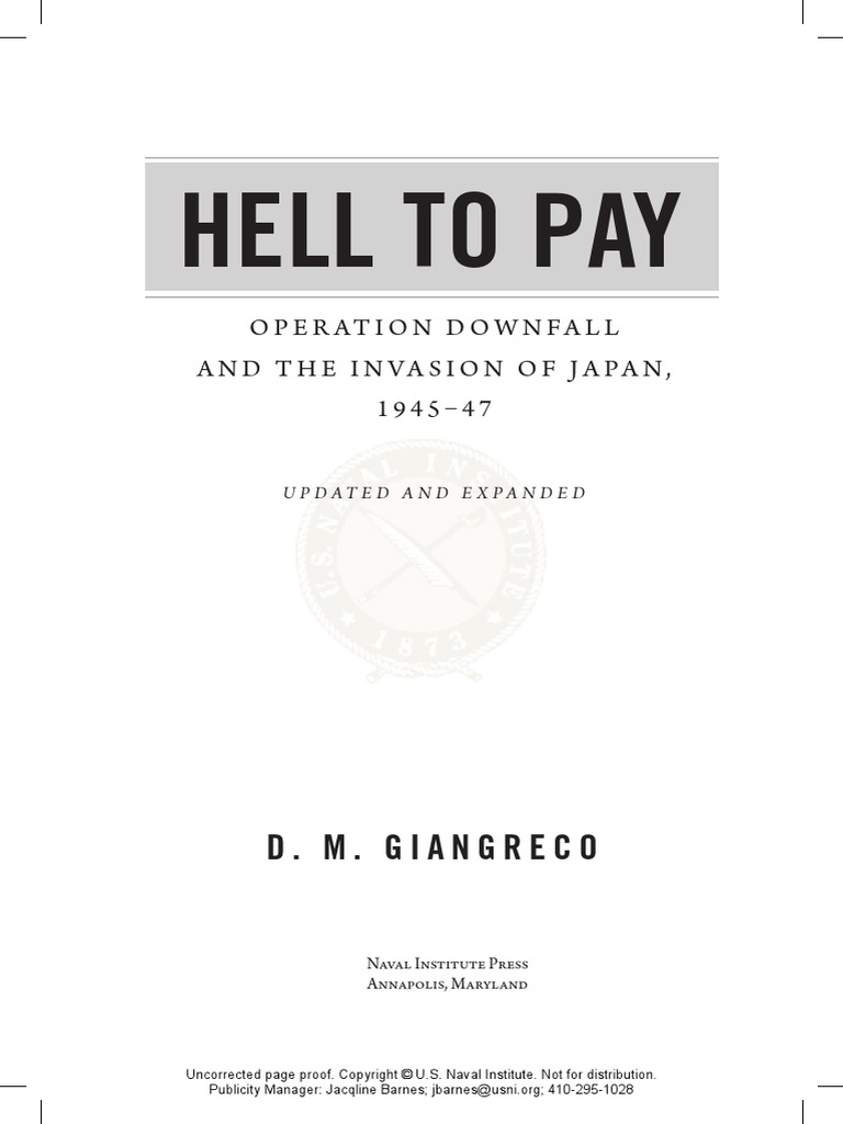 EXCERPT: Hell to Pay: Operation DOWNFALL and the Invasion