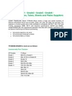 Titanium Grade1 / Grade2 / Grade5 / Grade9 / Roundbars, PIpes, Tubes, Sheets and Plates Suppliers in india
