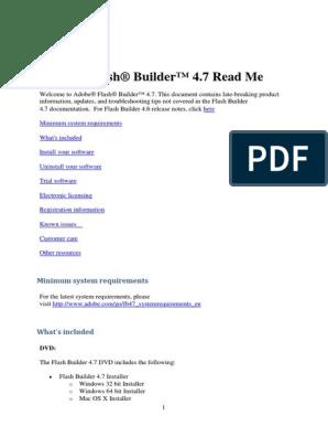 Adobe Flash Builder 4 7 Read Me pdf | Installation (Computer