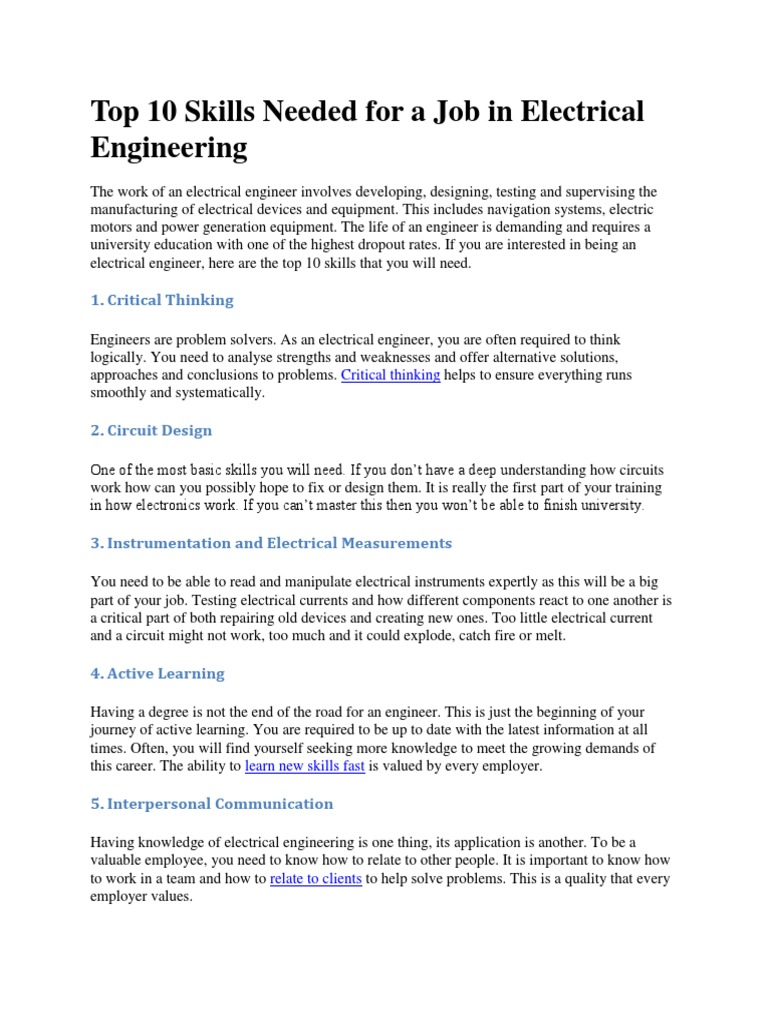 Top 10 Skills Needed for a Job in Electrical Engineering ...