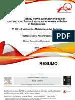 Apresentação Artigo TP119 - Biofilm Formation by Vibrio