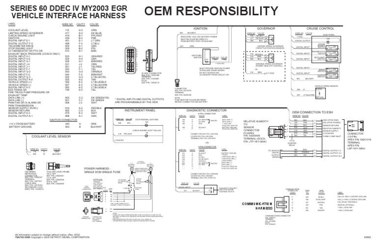diagrama de cabina ddec iv 336026 rh es scribd com Detroit Wiring Schematics Detroit Diesel ECM Wiring