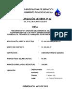 Memoria Descriptiva de Valorización Mensual May 2015