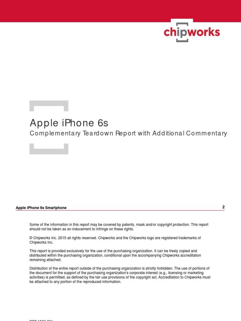 Apple iPhone 6s A1688 Smartphone Chipworks Teardown Report
