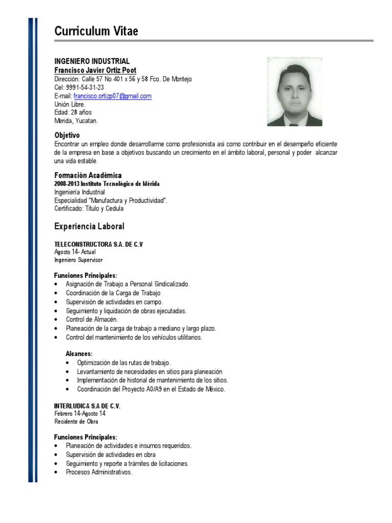 Dorable Currículum Para Ingeniero De Mantenimiento Inspiración ...