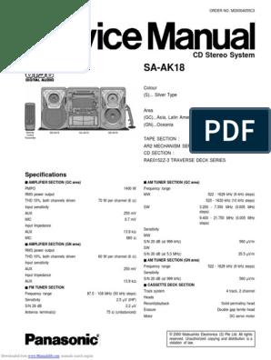 Service Manual - Panasonic SA-AK18   Compact Cette ... on