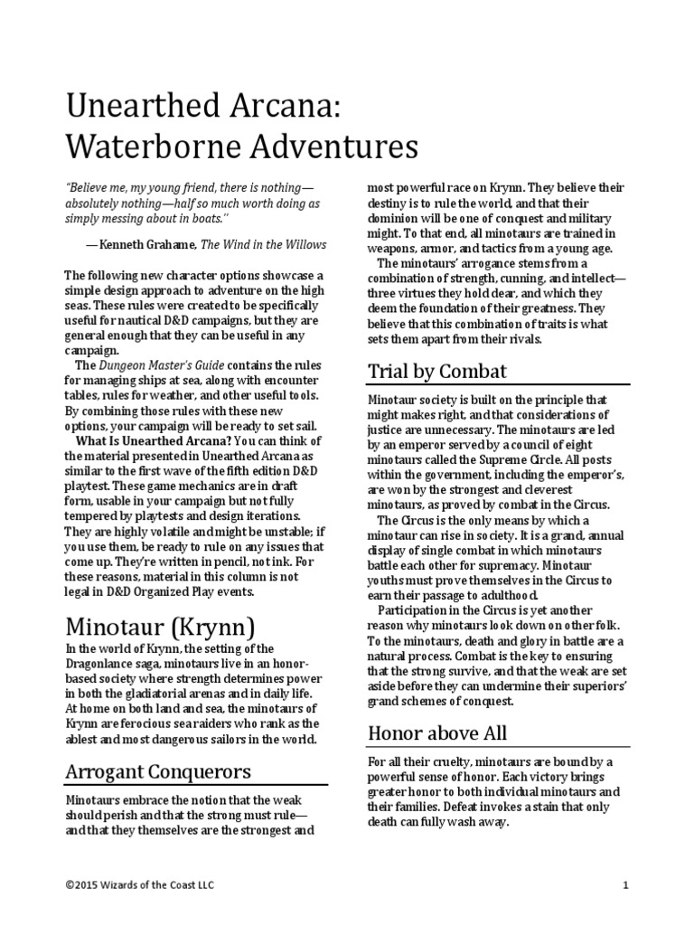 Unearthed Arcana - Waterborne pdf