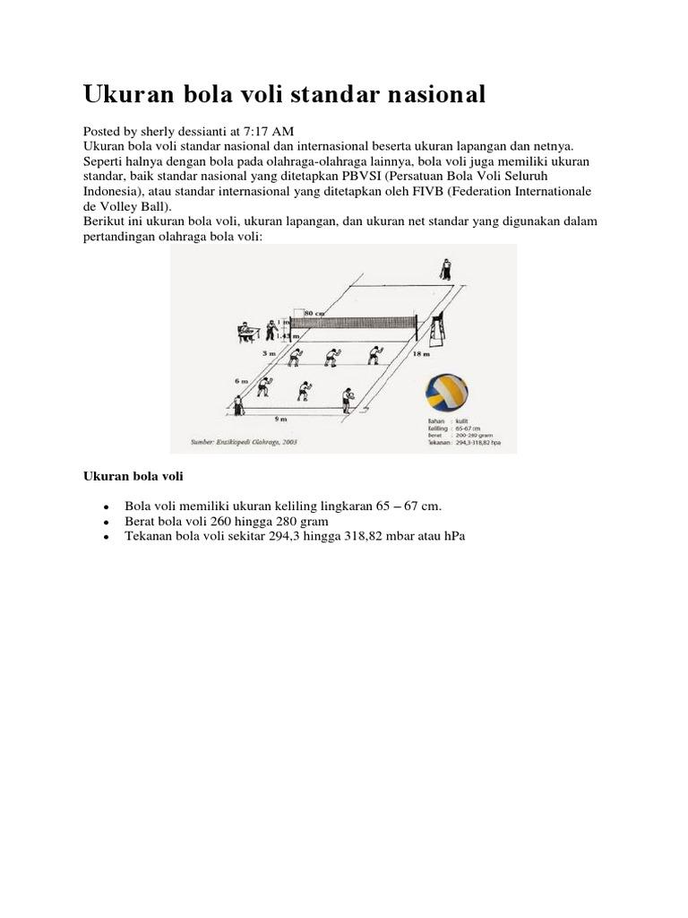 Ukuran Bola Voli Standar Nasional Dan Internasional Beserta Ukuran Lapangan Dan Netnya