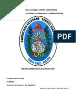 Balanza Comercial Bolivia