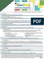 freshmen checklist