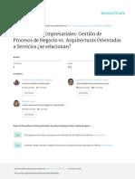 Arquitecturas Empresariales :Gestion de Procesos vs Arquitectura orienta a servicio ¿se relacionan?