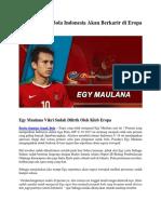 Pemain Sepak Bola Indonesia Akan Berkarir Di Eropa