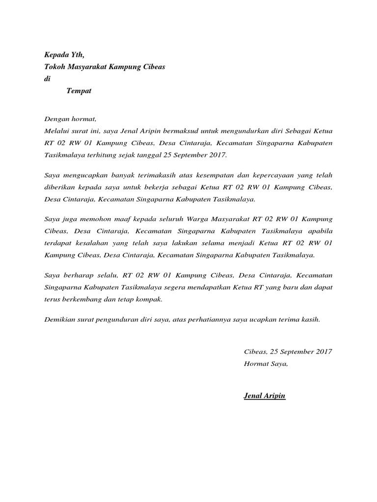 Surat Pengunduran Diri Rt