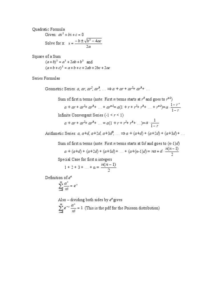 Key Review Formulas