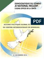 Accord Politique Global Et Inclusif 31 Dec 2016 Version Elect
