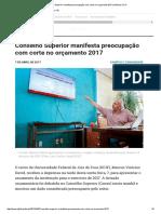 Conselho Superior Manifesta Preocupação Com Corte No Orçamento 2017 _ Notícias UFJF
