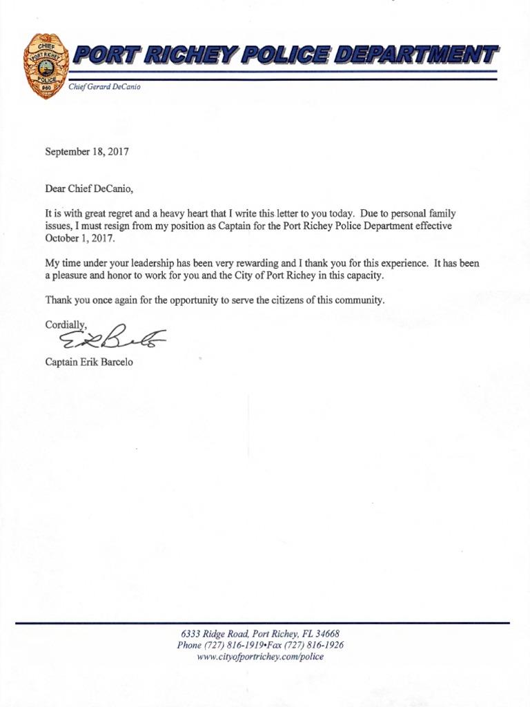 Erik Barcelo Resignation Letter
