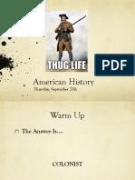 thurs sept 28 american history
