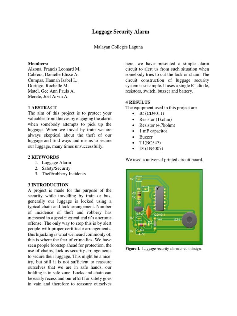 Luggage Security Alarm 1 Electrical Engineering Manufactured Goods Burglar System Circuit Diagram Using